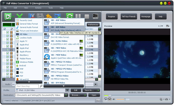 Full Video Converter Software Interface: HD Video Converter